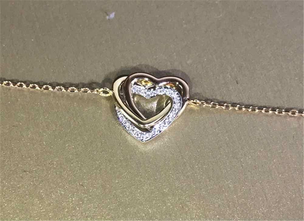 18K Gouden Hart Diamanten Armband Echt 925 Sterling Zilveren Engagement Bruiloft Armbanden Voor Vrouwen Bridal 3 Tone Party Sieraden gift