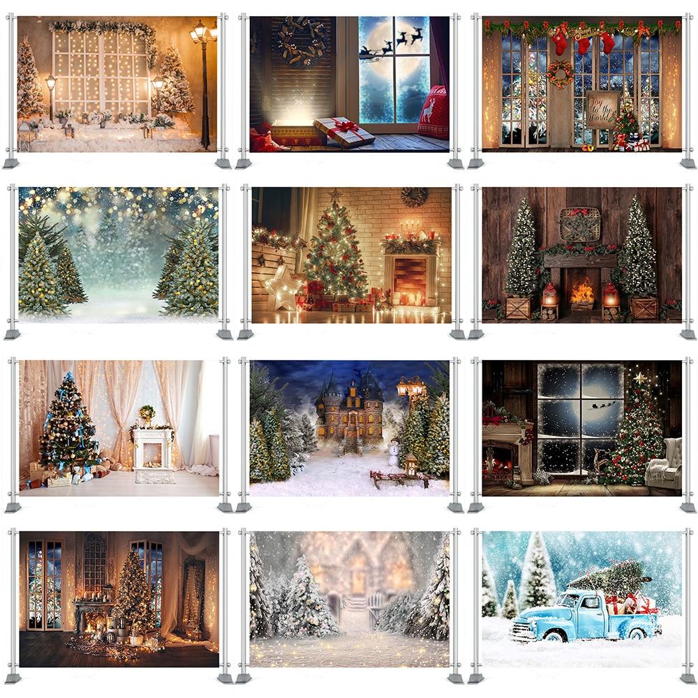Фон для фотосъемки Рождественская елка окно венок зима снег фон деревянный дом фотосессия реквизит на заказ фотобудка