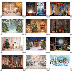 Photography Backdrop Christmas Trees Window Wreath Winter Snow Background Wood House Photocall Photoshoot Prop Custom Photobooth