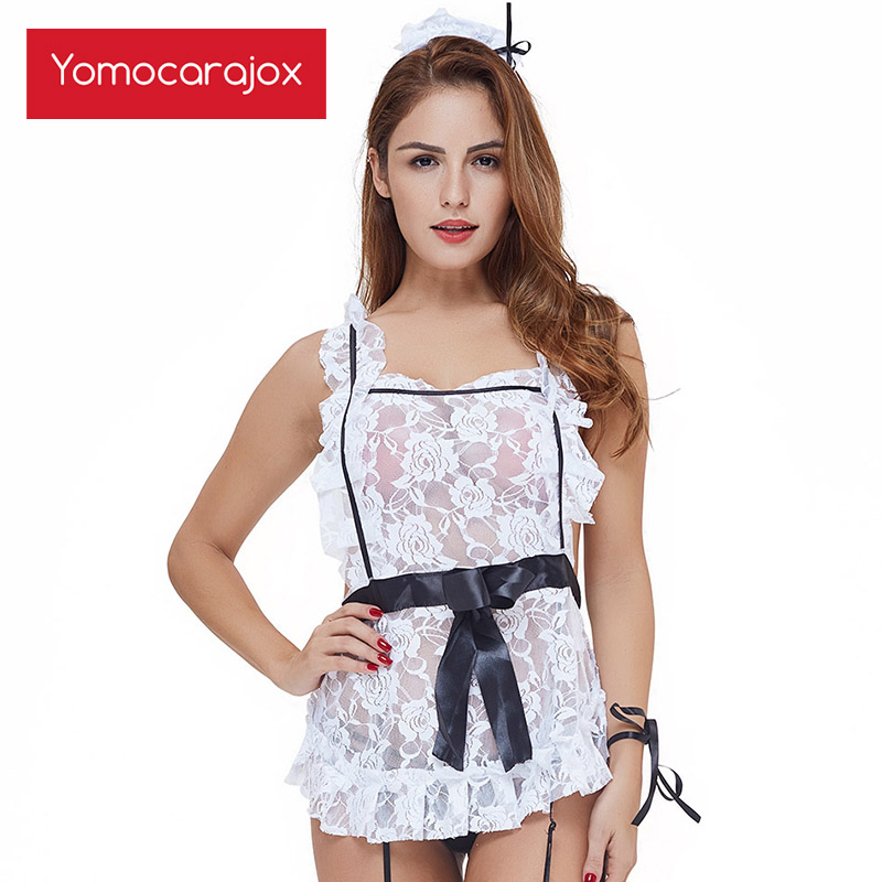 Maid Cosplay <font><b>Sexy</b></font> Costumes Lace Strap Black <font><b>Naughty</b></font> Lingerie Temptation Cleaning Fantasy Adult Costume <font><b>Dress</b></font> image