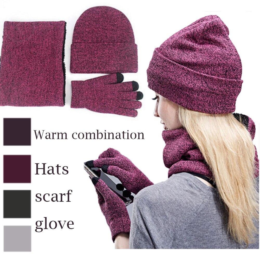 2019 Winter Beanie Hat For Men Women Hat Scarf Warm Scarf Hat Gloves Set Male Female Hat Scarf Set 3 Pcs Skullies Beanies