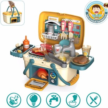 Kids BBQ Grill PlaySet Portable Picnic Kitchen Basket Toys with Musics and Lights Play Foods Cooking Pretend Play Toys for Girls