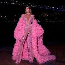 Модное розовое шикарное Пышное с оборками Многоуровневое фатиновое