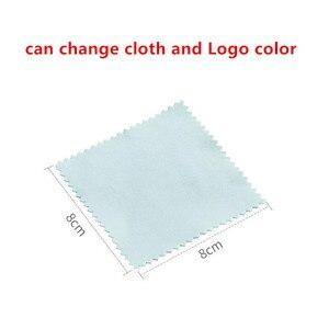 Image 2 - 300 3000Pcs Custom Logo 8X8Cm Sieraden Reinigen Polijsten Doek Messing Polijstmachine Voor Platina Zilver Goud cleaner