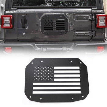 Spare Tire Carrier Delete Filler Plate Tramp Stamp Tailgate Vent-Plate Cover for Jeep Wrangler JL 2018 2019(Black Flag)