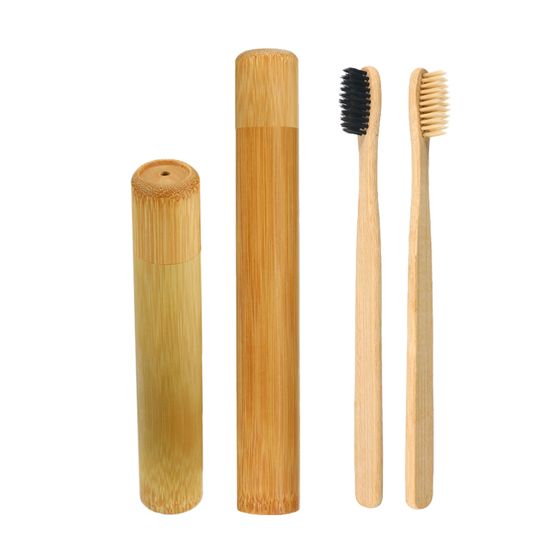 Bamboo Toothbrush With Holder Wooden Teeth Brush Soft-bristle Bamboo Fibre Tube Charcoal Tooth Brush Box Set Oral Care image