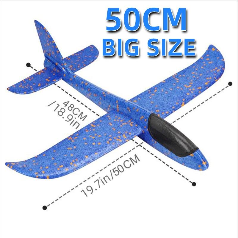 50 см большой самолет из пеноматериала планер ручная пледы самолет игрушка-планер самолеты инерционная EPP на открытом воздухе запуск детски...