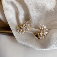Pendientes de aro S925 para mujer, de lujo, Vintage, francés, dorado claro, con perlas pavimentadas, aros dorados gruesos pequeños, CC