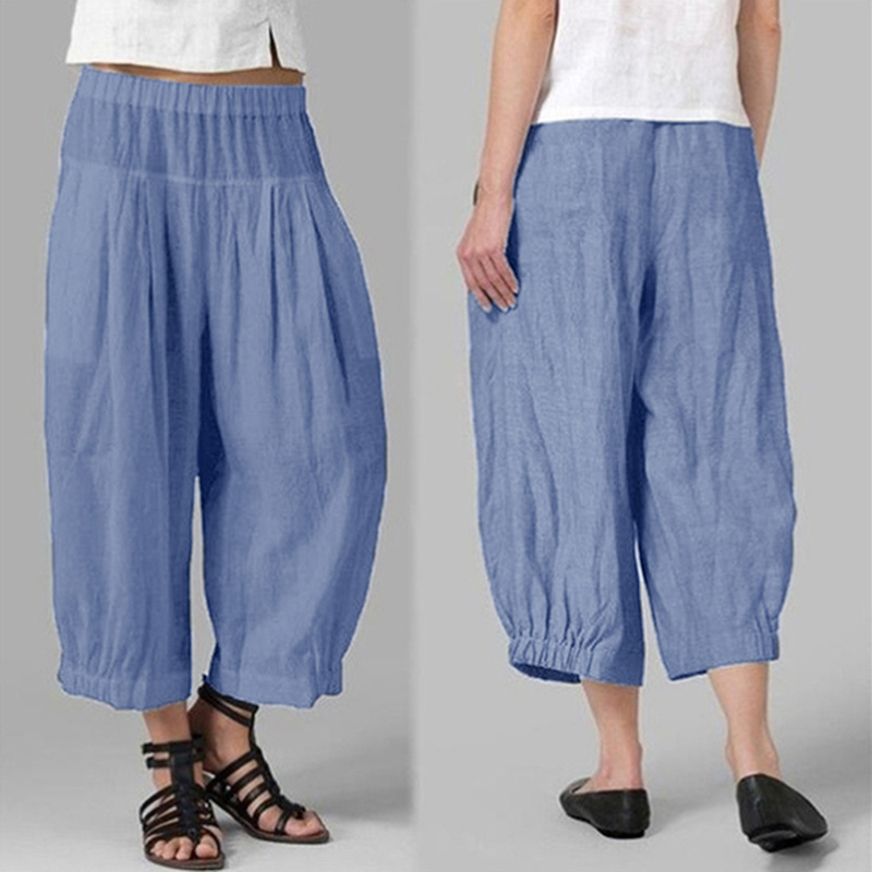 Woman Pants Summer Fashion Loose Solid Color Elastic Waist Nine-point Wide-leg Pants Robe Femme