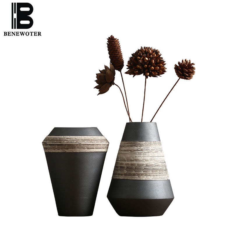 Japanese Style Flower Vase Black Zen Ceramic Tea Ceremony Ornaments Desktop Dried Flowers Vase Living Room TV Cabinet Decoration