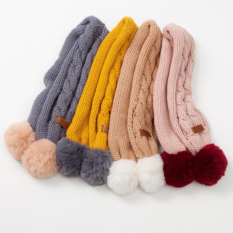 2019 Kids Winter Scarf Pompom Baby Scarf Boys Girls Warm Scarves Knitting Faux Fur Balls Intersection Shape Children Ring Scarf