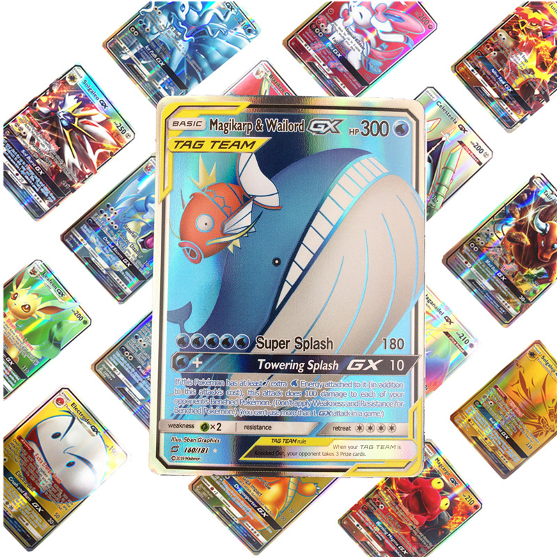 Kids Toys 100pcs English GX EX   Pokemones  Cards Toys Card Game Battle Carte Trading Energy Charizard Collection Card