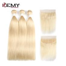 613 Honey Blonde Hair Bundles With Frontal Brazilian Straight Remy Human Hair Weave Bundles 3/4 Bundles With Closure KEMY HAIR