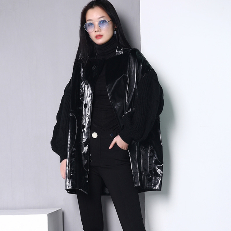 LANMREM 2020 New Autumn And Turn-down Collar Lantern Sleeves Knits Patchwork PU Leather Loose Jacket WB67801M