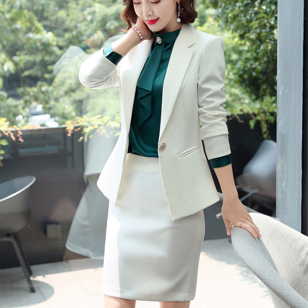 work 2 piece women suit plus  blazer skirt set  white skirt suit  fashion female suit skirt  complete office outfit women