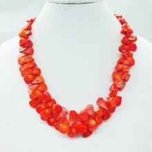 """Модное ювелирное изделие, натуральное оранжевое коралловое ожерелье 19"""""""