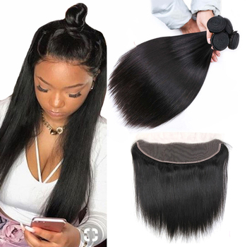 Luxediva Peruvian Straight Hair Weave Bundles With Lace Frontal Human Hair Bundles With 13*4 Frontal Closure Remy Extensions image