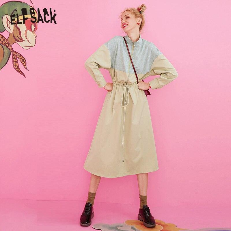 ELFSACK Khaki Colorblock Patchwork Casual Dress Women 2020 Winter Zipper Drawstring Belt Elegant Long Sleeve Lady Daily Dresses