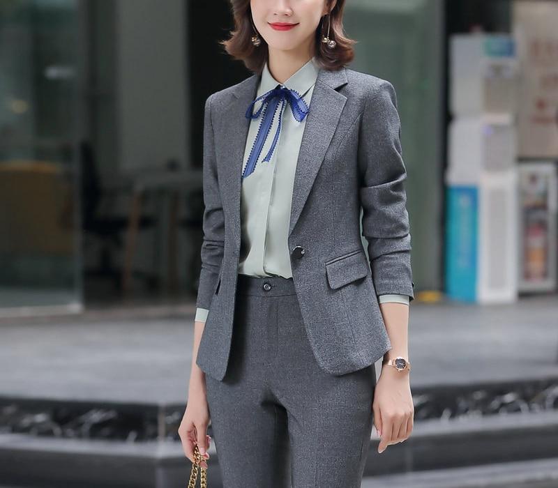 New Female Elegant Women's Black Gray Pants Suit Trouser Blazer Costumes Jacket Suits Ladies Office Wear Uniforms 2 Piece Blouse
