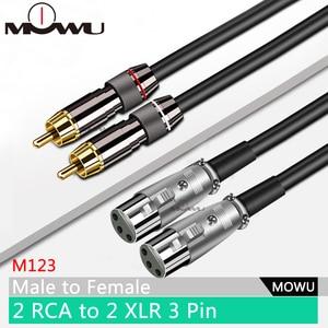 MOWU двойной 2RCA папа к двойному XLR гнезду OFC AUX аудио кабель экранированный для усилителя смесителя динамиков 0,5-15 м