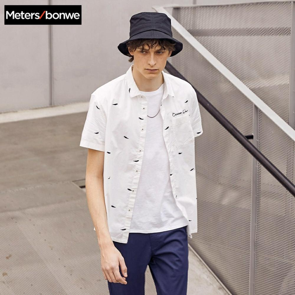 Metersbonwe Men Short Sleeve Shirt Male Smart Casual Cotton Shirt 2019 New Trend Summer Boat Printing Shirt Casual Shirt