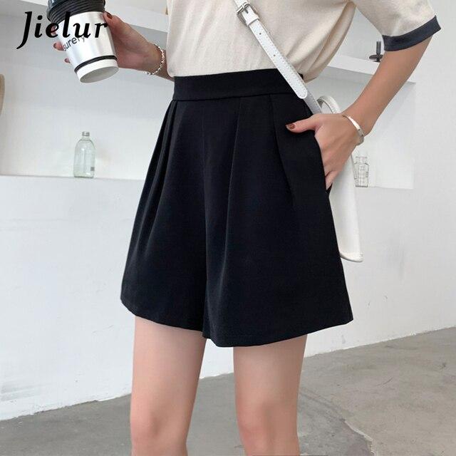Jielur High Waist Shorts Women Summer Plus Size S-2XL Loose Casual Short Pleated Wide Leg Hot Cool Shorts Female White Black New 1