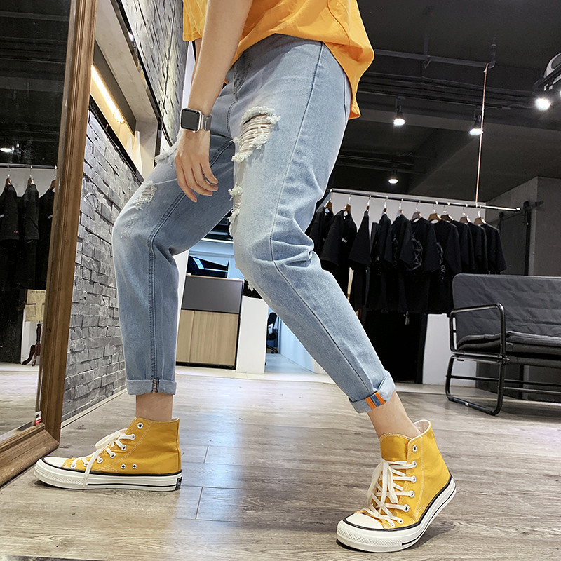 Spring And Summer With Holes Jeans Men Slim Fit Elasticity Handsome Capri Pants Korean-style Trend 9 Points Skinny Beggar Pants