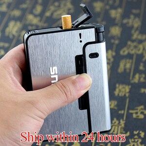FOCUS Automatic cigarette case Metal Cigarette Boxes 10pcs Cigarette Holder Case Lighter Gadget For Men Christmas Gift