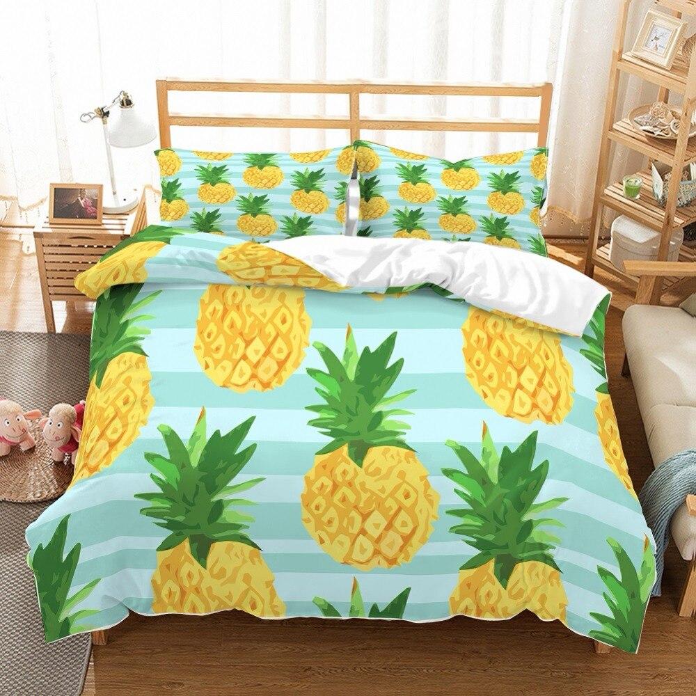Kids Tropical Fruits Bedding 3D Yellow/Green Pineapples Bedspread Green/Light Blue Stripes Summer 3 Pieces Home Duvet Cover Set