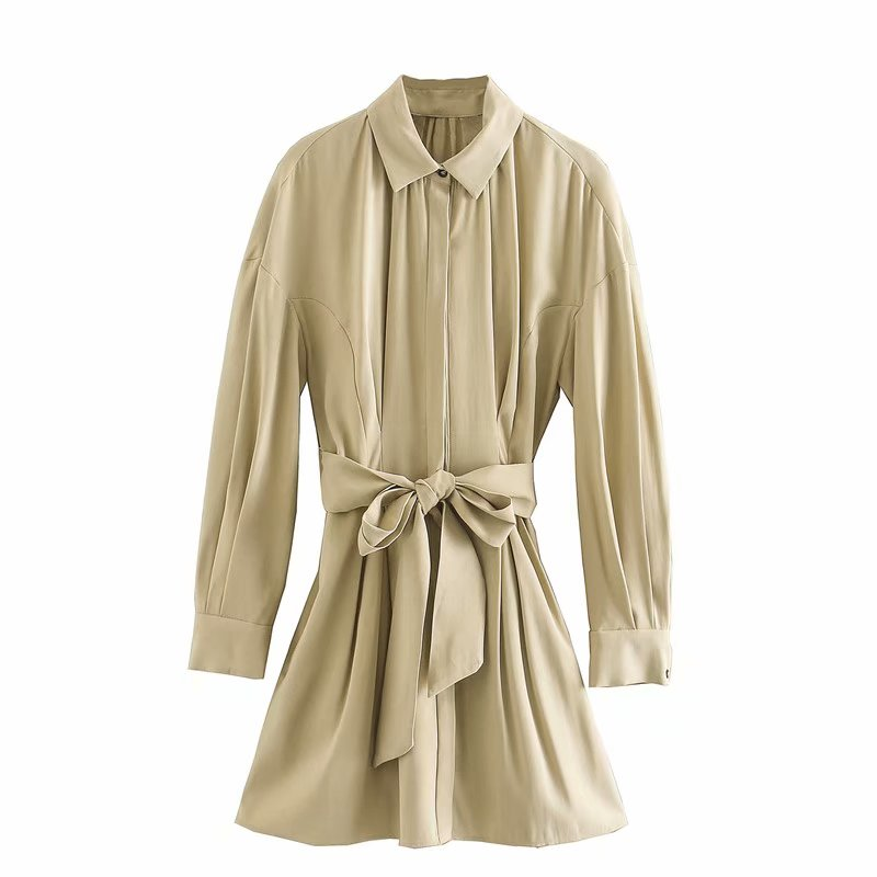 2020 New Women fashion solid color bow tied sashes shirtdress female single breasted pleats casual Vestidos Chic Dresses DS3358