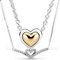 Colgante con forma de corazón con brillos para mujer, colgante de Corazón dorado con cúpula de Wishbone para pulsera de cuentas de plata de ley 925, joyería Diy