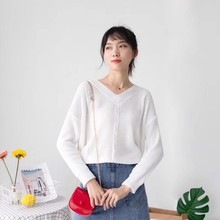 Women Autumn Fashion Solid Simple Knitted Sweater Long Sleeve Wear Casual Loose Pullover Jumper