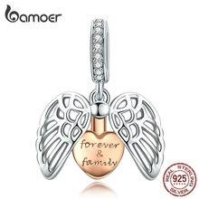 Bamoer крылья стража семья Подвеска Шарм для женщин Серебряный браслет розовое золото цвет сердце 925 ювелирные изделия из чистого серебра SCC1299