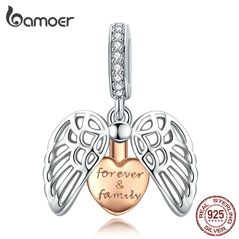 Bamoer Guardian Wings Family Pendant Charm For Women Silver Bracelet Rose Gold Color Heart 925 Sterling Silver Jewerly SCC1299