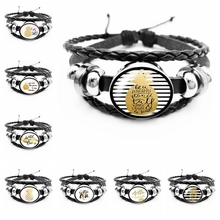 2019 New Classic Fruit and Tree Black White Striped Pattern Mens Leather Bracelet Glass Convex