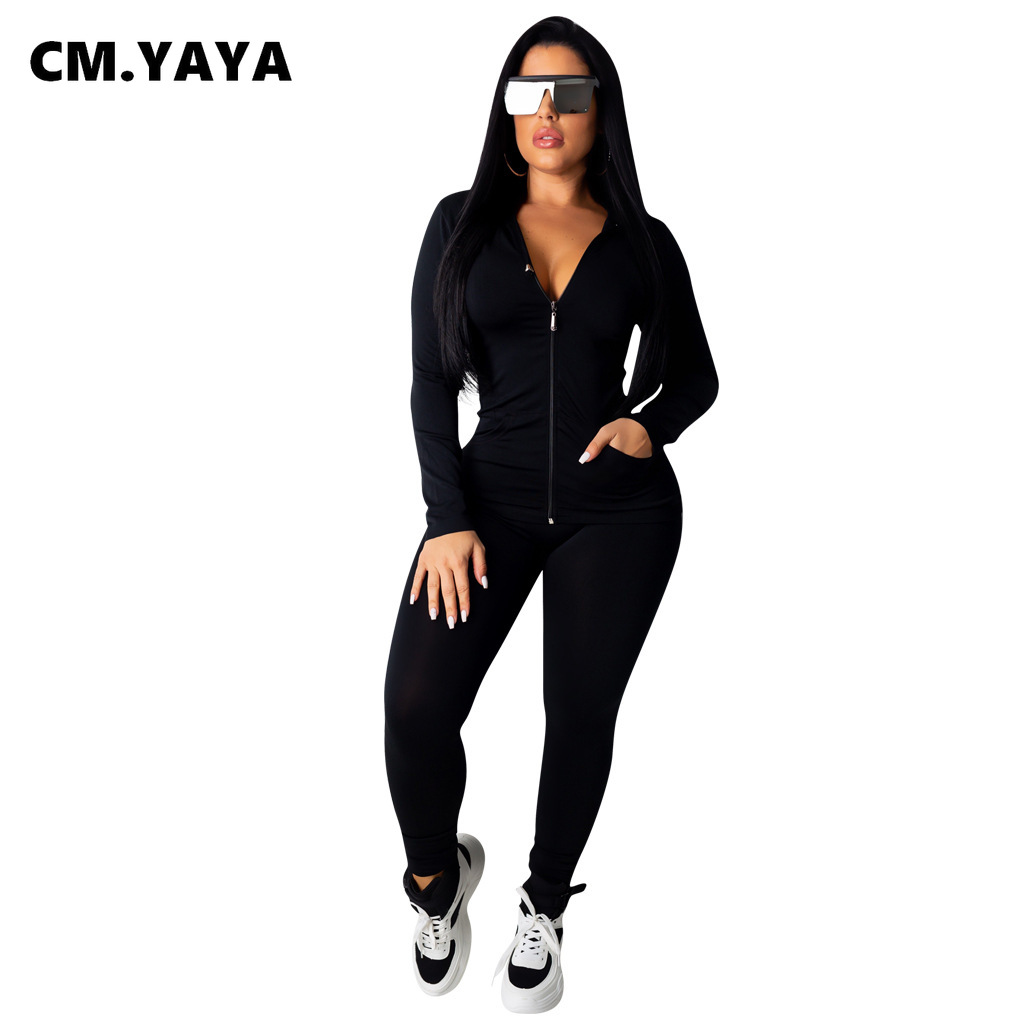 CM.YAYA autumn Women Solid zipper up long sleeve hooded top pencil pants suit two piece set casual sporting tracksuit outfit 4