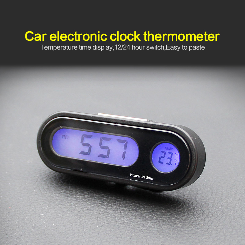 Portable 2 In 1 Car Digital LCD Clock Temperature Display Electronic Clock Thermometer Car Automotive Blue With Battery