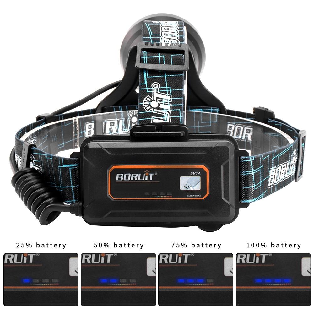 cheapest BORUIT B10 XM-L2 LED Super Bright Headlight Micro USB Charge 18650 Battery Headlamp 4-Mode Head Torch Camping Hunting Flashlight