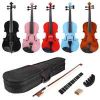 1/8 Splint Bright Acoustic Violin Fiddle with Rosin Case Bow Muffler Kits Bright Fiddle Exerciser Set for Musical Lover Student