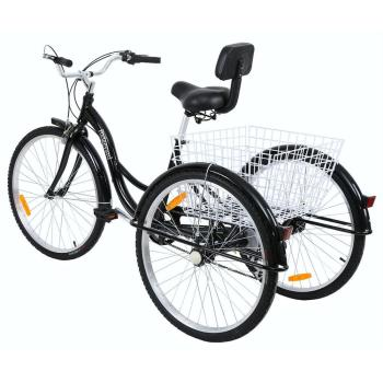 26 inch 7 speed adult tricycle Aluminum alloy shopping bike non electric bicycle with basket for man&woman&elderly