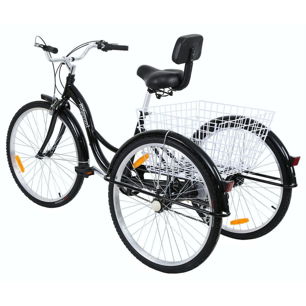 26 Inch 7 Speed Volwassen Driewieler Aluminium Winkelen Bike Non Elektrische Fiets Met Mand Voor Man Vrouw Ouderen Dekens Sierlijsten Aliexpress