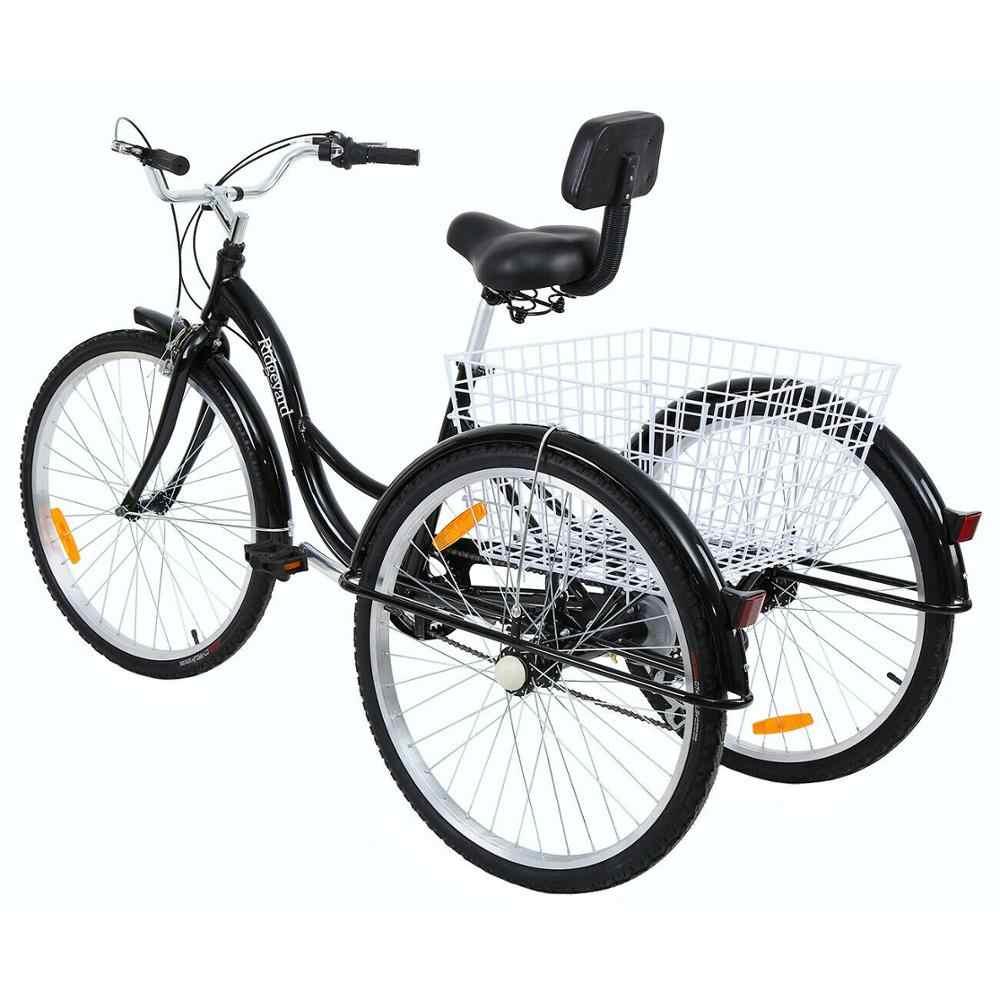 Triciclo adulto de 26 pulgadas de 7 velocidades bicicleta de compras de aleación de aluminio bicicleta no eléctrica con cesta para hombre y mujer y ancianos