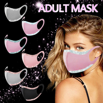 1pc Adult Sequins Ice Silk Solid Color Face Mask Adjustable Windproof Reusable Printed Face Mask Fashion Outdoor Mask Mascarilla