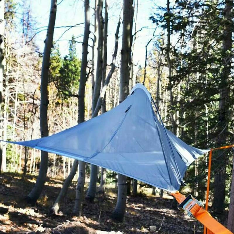 Portable Camping Hanging Tree Tent Bed 1 2 Person Triangle Suspension Tent Outdoor Traveling Ultralight Waterproof