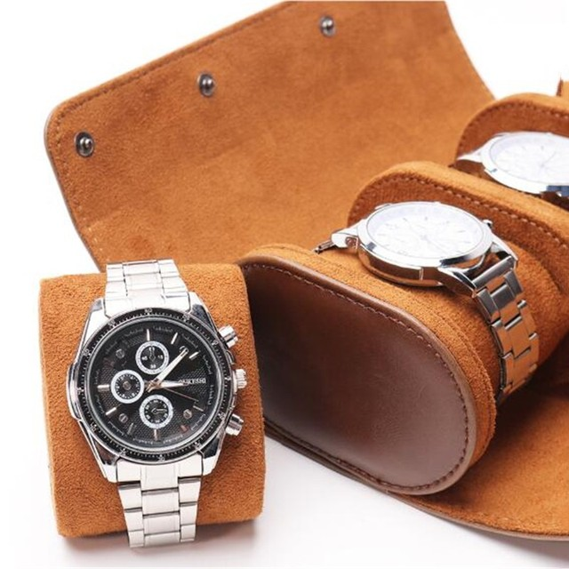 Watch Roll Case Vintage Leather Portable Organizer 3