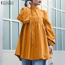 Blouse Puff-Sleeve Muslim Tops Fashion Women's Solid ZANZEA Button Spring Lace-Up Blusas
