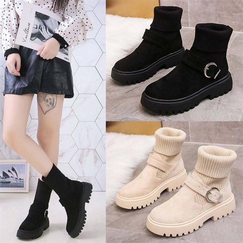 Mhysa 2019 New Fashion Platform Winter Boots Women Shoes Black Martin Boots suede Leather slip-on Ankle Boot Buckle Botas Mujer 64
