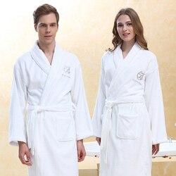Thicken Men Women Bath Robe Winter Warm 100%Cotton Towel Bathrobe Male Home Hotel Nightgown Kimono Dressing Gown Wedding Gift