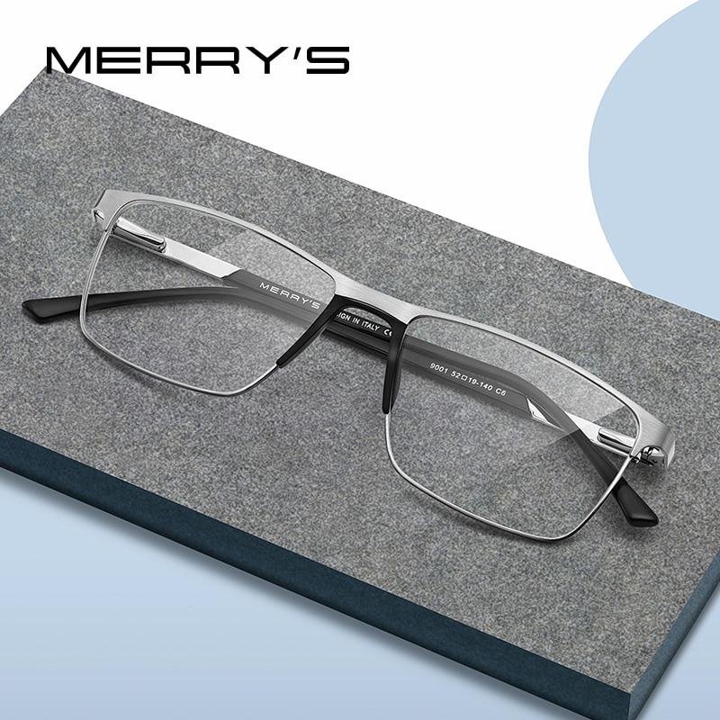MERRY'S Men Titanium Alloy Glasses Frame Male Fashion Square Ultralight Eye Prescription Eyeglasses S2001
