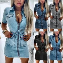 Summer Women's Lace-up Waist Trimming Short-sleeved Zipper Sexy Pocket Slim Sheath Denim Graceful and Fashionable Casual Dress